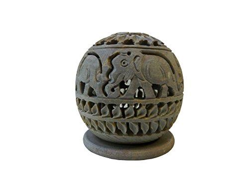 Teelichtlampe 9cm Elefanten rund Speckstein 2-teilig Windlicht (Elefant Speckstein)