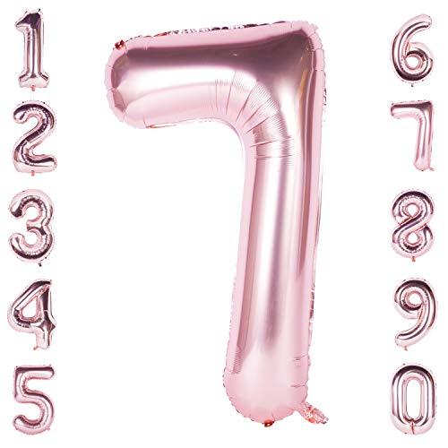CHANGZHONG 40 Zoll Riese Helium Folie Nummer 0-9 Roségold Ballon Geburtstag Hochzeitsfeier Digitale Dekorationen Nummer 7