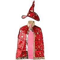 ZJL220 Niños Niños Traje de Halloween Bruja Mago Manto Bata Bata Sombrero  Estrellas ... b3facbd71f1