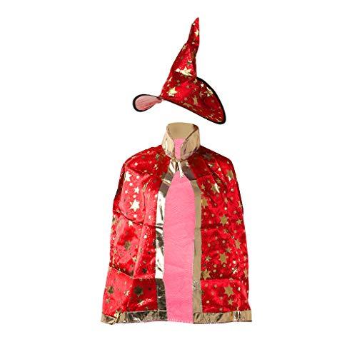 Lamdoo Kinder Halloween Kostüm Hexe Zauberer Umhang Robe Mütze Sterne Cosplay, Stoff, rot, 86x37x38cm