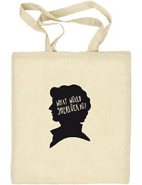 Shirtstreet24, What Would Sherlock Do? Natur Stoffbeutel Jute Tasche (ONE SIZE), Größe: onesize,natur
