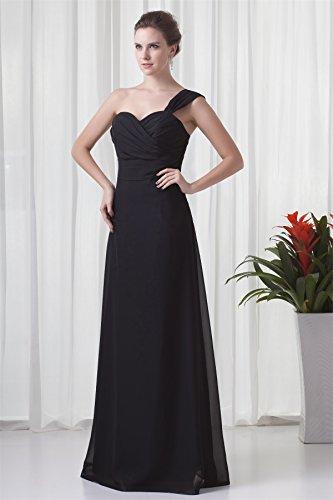 Bridal_Mall Damen Herzform Ein-Schulter Abendkleid Lang Chiffon Prom Partykleid Lila