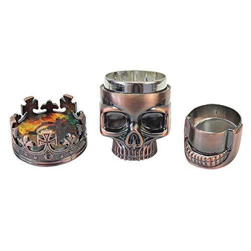 Kleine Größe 3 Schichten Männer Schädel Kopf Form Grinder Tragbare Herb Tobacco Kräuter Gewürz Crusher Shisha Rauchen Zubehör - Rot Bronze