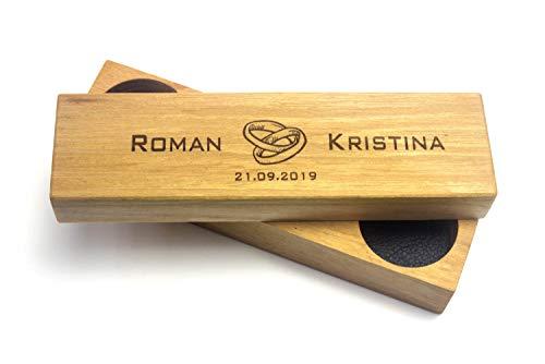 Ringkissen aus Holz und Leder mit Gravur | Für Hochzeitsschmuck | Ring Box Ringbox Ringetui Ringkasten Hochzeit -