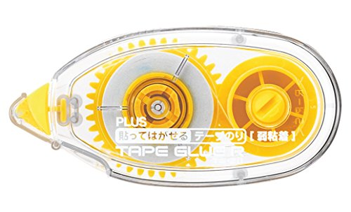 Plus Japan 37417 Adesivo Roller R non Permanente, Usa e Getta, Giallo