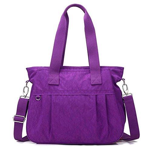 Nylon Spalla Mano Borsa Di Tela Lavato Diagonale Borse Casuali Purple