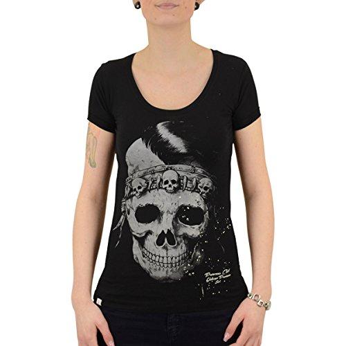 Yakuza Premium Frauen T-Shirt Indian Skull schwarz - S - Indian Skull T-shirt