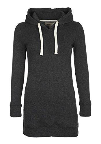 DESIRES Derby Hood Long Damen Kapuzenpullover Hoodie Long Sweatshirt mit Fleece-Innenseite Longline Sweat-Kleid aus hochwertiger Baumwollmischung, Größe:XS, Farbe:Dark Grey Melange (8288)