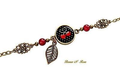 Bracelet cerises cabochon verre bronze rouge noir