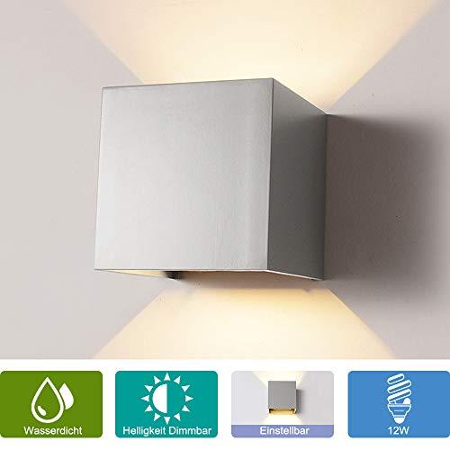 12W Wandleuchte Dimmbar Aussen/Innen LED Wandbeleuchtung, Warmes Licht Wasserdicht Verstellbare Walllampe, Dimmer Aluminium Wasserdicht für Garten/Weg Veranda hell-Warm (Grau) -