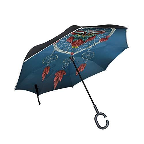 CPYang Paraguas invertido con diseño de búho, atrapasueños, Doble Capa, Reflectante, Resistente al Viento, para Auto, al Aire Libre, Viajes