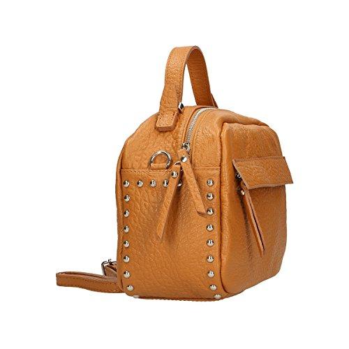 Chicca Borse Handtasche aus echtem italienischem Leder 23 x 18 x 12 Cm Leder