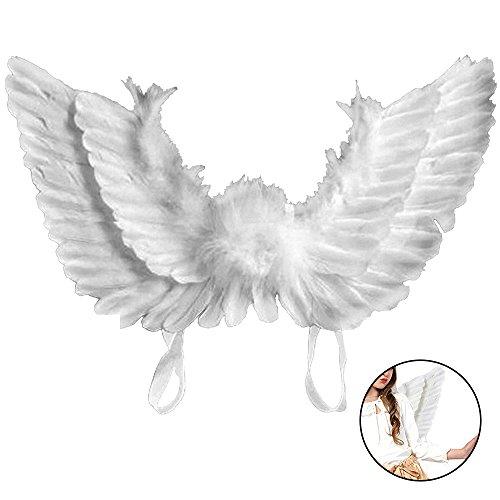 Engelsflügel Engel Flügel aus Federn Engel Fee Flügel Kostüm Kinder für Weinachten Halloween Party Karneval Dekoration Cosplay (Kinder 45 * 35 cm, (Kostüme Flügel Feder Weiße)