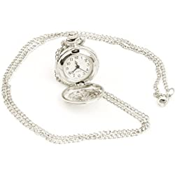 Pinzhi®Antique Women Silver Tone Hollow Round Quartz Pocket Watch Necklace Chain New