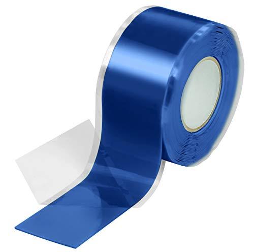 Poppstar selbstverschweißendes Silikonband, Silikon Tape Reparaturband, Isolierband und Dichtungsband (Wasser, Luft), blau, 1 Rolle a 3m (25mm breit)