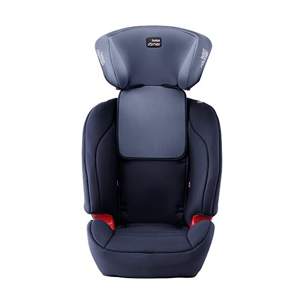 Britax Römer EVOLVA 1-2-3 SL SICT Group 1-2-3 (9-36kg) Car Seat - Moonlight Blue  CLICK & SAFE audible harness system for that extra reassurance when securing your child in the seat The padded headrest and harness can easily be adjusted with one hand to suit your child's height performance chest pads - provide comfort and reduce your child's forward movement in a frontal collision 4