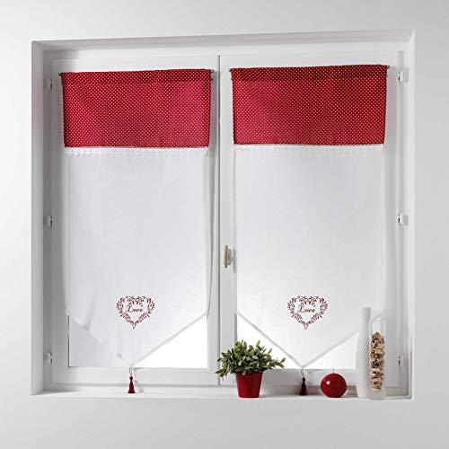 Couleur Montagne Home Love Paire Pompon Passe Tringle Motif Voile Brode/Top Imprime, Polyester, Rouge, 90x60 cm