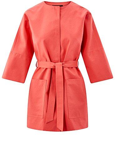 oodji Collection Damen Trenchcoat mit Knöpfen und 3/4 Arm Rot (4300N)