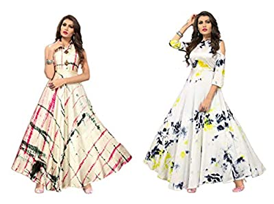 Kesari King Women's Pack Of 2 Readymade Satin Printed Gown(WhiteYellow,Cream)