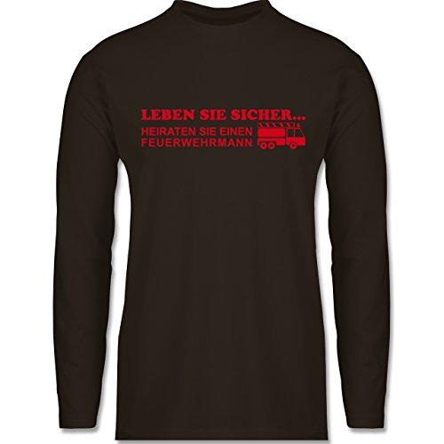 Shirtracer Feuerwehr - Leben Sie Sicher - Herren Langarmshirt Braun