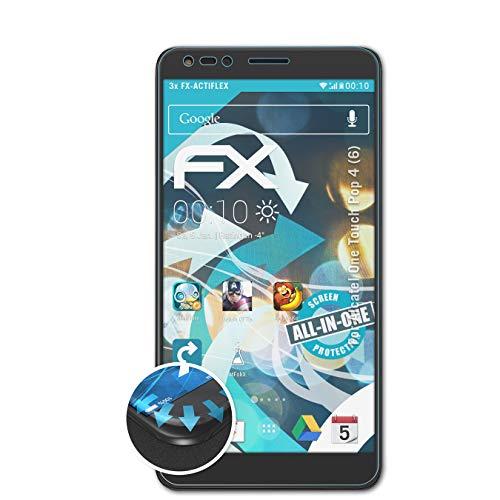atFolix Schutzfolie passend für Alcatel One Touch Pop 4 (6) Folie, ultraklare & Flexible FX Bildschirmschutzfolie (3X)