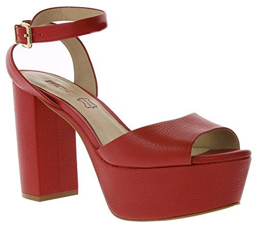 Buffalo Schuhe Echtleder High Heels Plateau Riemchen Rot, Größenauswahl:41