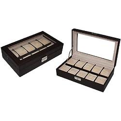 Hochwertige Uhrenbox Woolux für 10 Uhren Leder Dunkelbraun extra breite Fächer verschließbar Echtglas