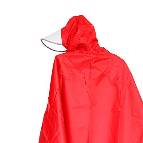 absolut Wasserdichter, Großer Regenponcho / Regencape, geeignet für Radsport, Motorrad oder andere Outdoor Aktivitäten Rot