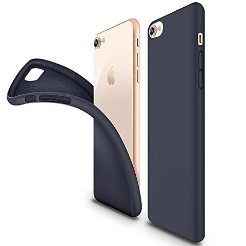Coque iphone 8, Coque iphone 7, HUMIXX Soft Liquid Silicone avec Intérieur Micro Fibre Étui Housse élégant Anti-Choc Protection de Téléphone Case Cover pour Apple iPhone 8/7(Bleu foncé)
