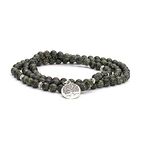 """Mala Wickel-Armband, grüner Serpentinit mit Silber-Charm""""Baum des Lebens"""" Gr. M"""