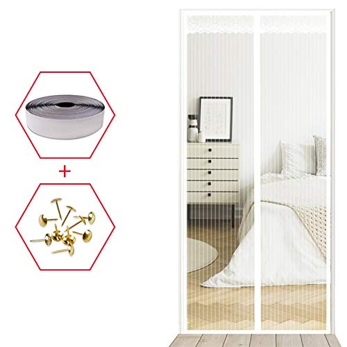 YXDDG Magnetische bildschirmtür Weiß Schwerer netzvorhang Haustier und kinderfreundlich Full-Frame-siegel fliegen mücken Bug insektenschutz für schiebetüren-Weiß 90x200cm(35x79inch) -