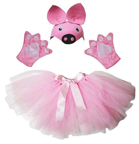 Petitebelle Rosa Schwein-Hut Handschuhe Rock-Frauen Erwachsener 3pc Kostüm Zubehör Einheitsgröße Hell-Pink