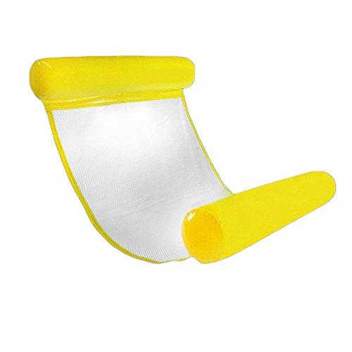 CampHiking Swimming-Pool-Hängematte, aufblasbare Schwimmbecken-Liege fürs Schwimmbad, Liege, Stuhl, faltbar, kompakte und tragbare Matte für Erwachsene und Kinder mit kleiner Pumpe, gelb