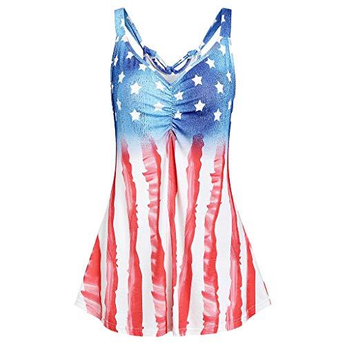 Cooljun Mode Frauen Streifen Amerika Flagge Gedruckt V-Ausschnitt Sleeveless Knot Tank Up Bluse Beiläufige Bluse Shirt Tops