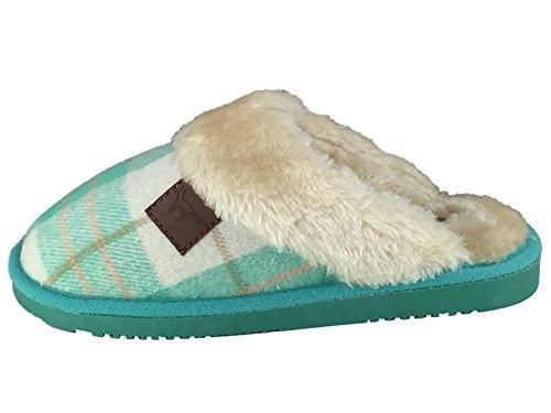 Minhas Senhoras Luxuoso Tartan Mula Forro Aconchegante E Confortável, Chinelos Macios Tamanho 3-8 Hortelã
