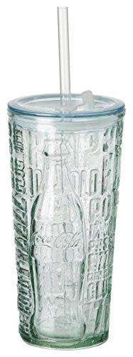 Coca Cola Relief Glas To Go Fizz, 530 ml, Trinkbecher aus 100{64bdb9a5585c6d2360cc68654100a5fdbc5d7f23c22c3dff2ac4129ef0c9cacb} recyceltem Glas mit Deckel und Trinkhalm