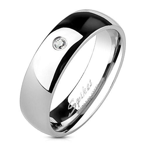 Ehering Trauring für Damen und Herren Edelstahl versilbert – Ring für Frauen und Männer silberfarben mit weißem Zirkon – Schmuck unisex für Männer und Frauen – 8 verschiedene Größen