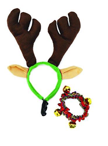 Doggy Things Geweih und Kariertes Weihnachts-Halsband