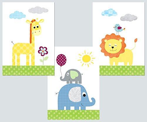 Kinderzimmer Deko - Poster Set 3x DIN A4 – Babyzimmer Deko Bilder Kinder Baby Mädchen Junge (bunt 1)