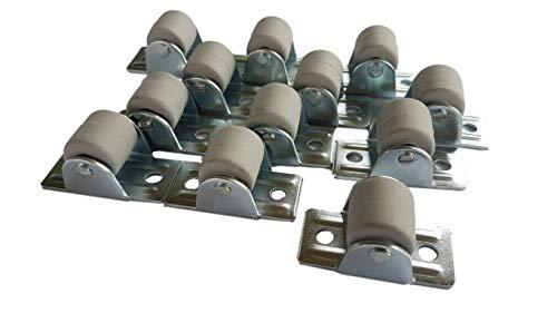 (Packung mit 100 Stück) 22 mm Gummirollen mit Metallplatte Möbelgerät & Zubehör Set