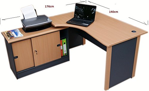 Computer Corner desk left with Storage cabinet (Beech / dark grey)