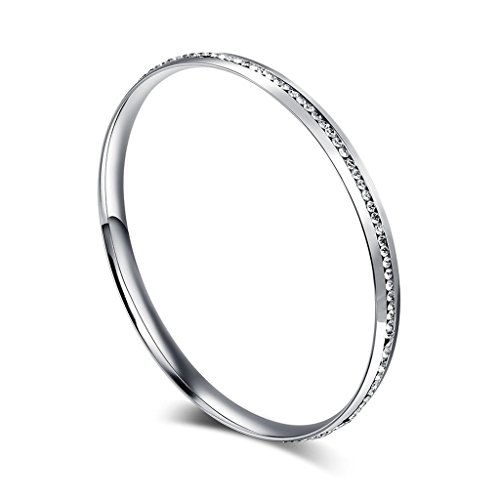 Aienid Mens Womens Bangle Bracelet Stainless Steel Silver Rhinestone Crystal Circle Round Width 6mm,8.7inch