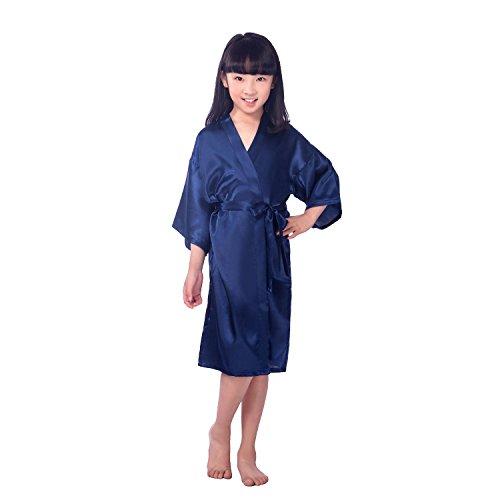 CuteOn Kinder Kids Satin Seide Kimono Robe Bademantel Morgenmantel Nachtwäsche für Spa Hochzeit Geburtstagsparty Kleid Dunkelblau Größe 8 - (Höhe 100-115cm) -