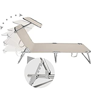 TecTake Sedia a sdraio per prendere il sole con l'ombrello parasole 190cm - disponibile in diversi colori - (4x Beige)
