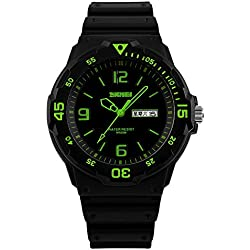 Amstt Men's Black Watches Date Analogue Military Sport Watch Waterproof Calendar Watch