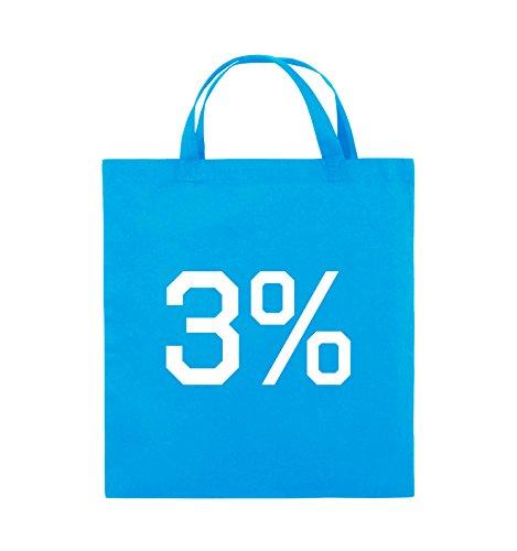 Comedy Bags - 3% - LOGO - Jutebeutel - kurze Henkel - 38x42cm - Farbe: Schwarz / Pink Hellblau / Weiss