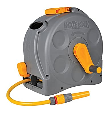 Hozelock 2-in-1 Compact Enclosed Hose Reel with 25 m Hose and Connectors, Assorted - Grey/Green