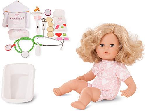Götz 1816063 Cosy Aquini als Doktor Badepuppe - Puppe mit blonden Haaren, blauen Schlafaugen in Einem 47-teiligen Set - 33 cm Mädchen-Babypuppe (Puppe Mit Haar)