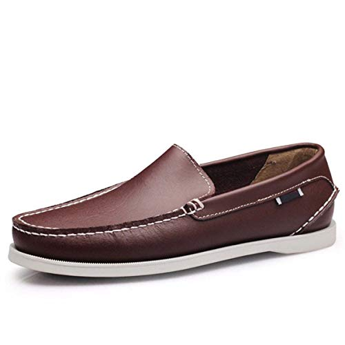 Spring Solid Men's Boat Footwear Fashion Genuine Leather Loafers Slip On&Lace Up Casual Shoes Man Comfortable Lazy Shoes Dark Brown 11 -