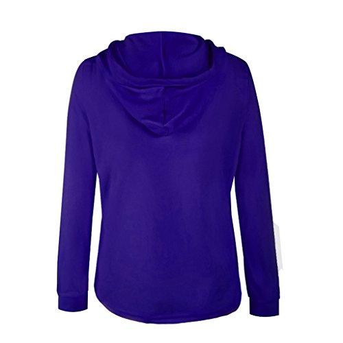 Veste Manteau Femmes Automne Hiver Manches Longues à Capuche Outwear Bodycon Zippe Poches Coat Casual Tops Bleu